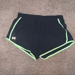 Black and green Under Armour Shorts with pockets